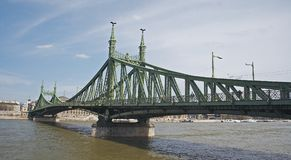 The bridge in green. The bridge between Pest and Buda Royalty Free Stock Image