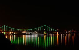The bridge with green backlight Royalty Free Stock Photos