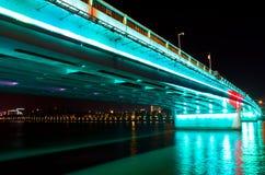 Bridge in green lights Stock Photos