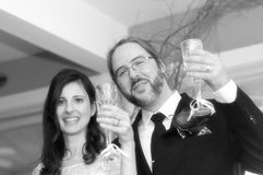 Bridge and groom toasting with champagne royalty free stock photos