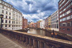 Bridge in Hafen City of Hamburg. Typical view of the Speicherstadt, also called Hafen City, in Hamburg. Its a popular harbour quarter for tourists in Hamburg Royalty Free Stock Photo