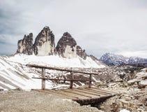Bridge with handrail at popular trek around Tre Cime di Lavaredo royalty free stock photos