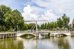 Bridge in Harlingen. Draw bridge in Harlingen under blue cloudy sky Royalty Free Stock Photo