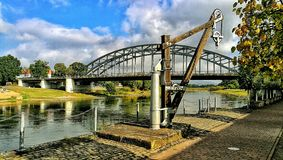 Bridge harp Germany. Rinteln Weser Germany Bridge royalty free stock photography