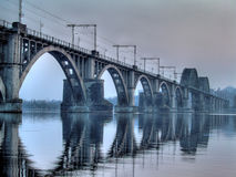 Bridge, HDR image. HDR-photo of bridge, river Dnipro, city-Dnepropetrovsk , Ukraine royalty free stock photos