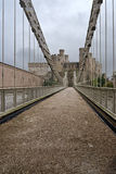 Bridge heading to Conwy castle Stock Images