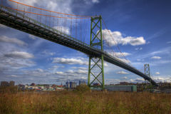 Bridge Heading to Downtown. Bridge spans the harbour heading to downtown Royalty Free Stock Images