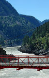 Suspension bridge over Fraser River Stock Photo