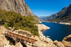 Bridge at Hetch Hetchy. Wooden bridge at Hetch Hetchy reservoir in Yosemite National Park, California Royalty Free Stock Images
