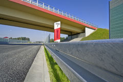 Bridge and highway. Bridge and sound absorption walls on a highway Stock Photo