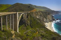 Bridge On Highway 1 Along The Pacific Ocean Near Big Sur Stock Image