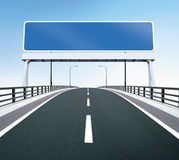 Bridge highway with blank sign. A highway of a bridge. A blank highway sign with room for your text Stock Photos
