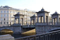 The Bridge. Historical Bridge in the light of the evening sun on the streets of St. Petersburg Royalty Free Stock Photos
