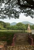 Bridge in the historical park in sukhothai Stock Photo