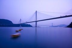 Bridge in Hong Kong. It is beautiful night scenes of Bridge in Hong Kong Stock Photos