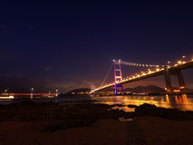 Bridge in Hong Kong at night Stock Photography