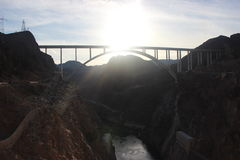 Bridge at the Hoover Dam at sunset over Colorado Lake Stock Photos