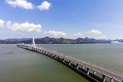 Bridge Of Houhai Bay To Hong Kong Island. Aerial View Over The Bridge Houhai Bay To Hong Kong Island stock image