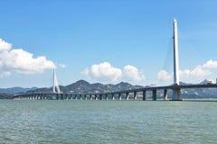 The Bridge Houhai Bay To Hong Kong Island. On Sunny Day royalty free stock image