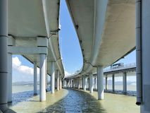 The Bridge Houhai Bay To Hong Kong Island. View Of Curved Roads stock photos