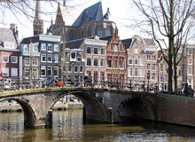 Bridge and House architecture in Amsterdam Stock Image