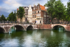 Bridge and houses in Amsterdam Stock Image