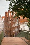 Lubeck. Bridge and houses on the bank of the river Trave, Lubeck Stock Photography