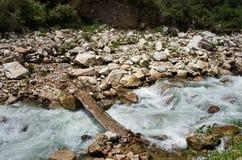 Bridge in Huascaran National Park, Peru. South America Stock Images
