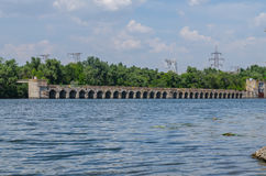 Bridge hydroelectric. Plant on blue sky background Royalty Free Stock Photos