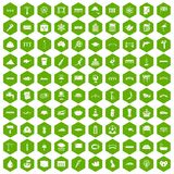 100 bridge icons hexagon green. 100 bridge icons set in green hexagon isolated vector illustration Stock Photo