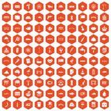 100 bridge icons hexagon orange. 100 bridge icons set in orange hexagon isolated vector illustration Stock Illustration