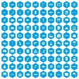 100 bridge icons set blue. 100 bridge icons set in blue hexagon isolated vector illustration Stock Illustration