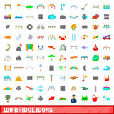 100 bridge icons set, cartoon style Stock Images