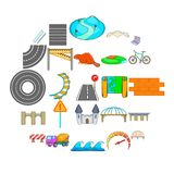 Bridge icons set, cartoon style. Bridge icons set. Cartoon set of 25 bridge vector icons for web isolated on white background Royalty Free Stock Image