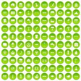 100 bridge icons set green circle. Isolated on white background vector illustration Stock Illustration