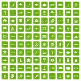 100 bridge icons set grunge green Royalty Free Stock Photo