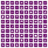 100 bridge icons set grunge purple. 100 bridge icons set in grunge style purple color isolated on white background vector illustration Royalty Free Illustration