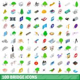 100 bridge icons set, isometric 3d style. 100 bridge icons set in isometric 3d style for any design illustration vector illustration