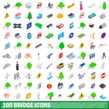 100 bridge icons set, isometric 3d style Royalty Free Stock Photos