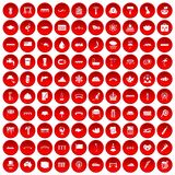 100 bridge icons set red Stock Image