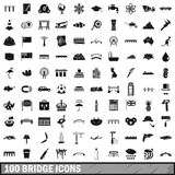 100 bridge icons set, simple style Royalty Free Stock Photos
