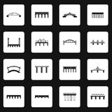 Bridge icons set in simple style. Types of bridges set collection vector illustration Stock Photos