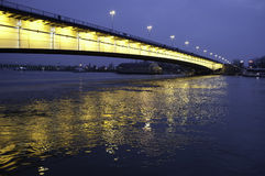 Bridge illuminated yellow light Royalty Free Stock Photography