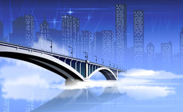 Bridge illustration. With the city on the background Royalty Free Stock Photos