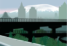 Bridge In City Near Mountain Royalty Free Stock Photo