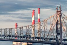Bridge and Industrial Smoke Stacks Stock Images