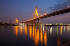 Bridge industry. Bangkok at night. Stock Image