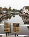 Bridge and info over Klein Diep in Dokkum, Holland royalty free stock images