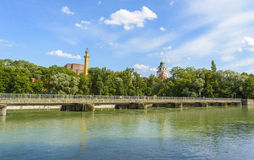 Bridge on Isar river Stock Photography