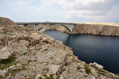 Bridge of the island of Pag. The bridge on the Croatian island of Pag Royalty Free Stock Photo